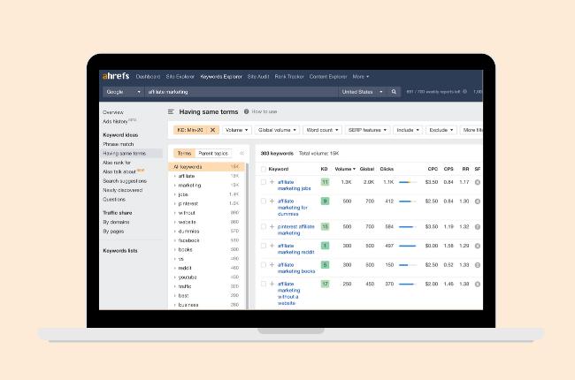ahrefs - affiliate marketing tools