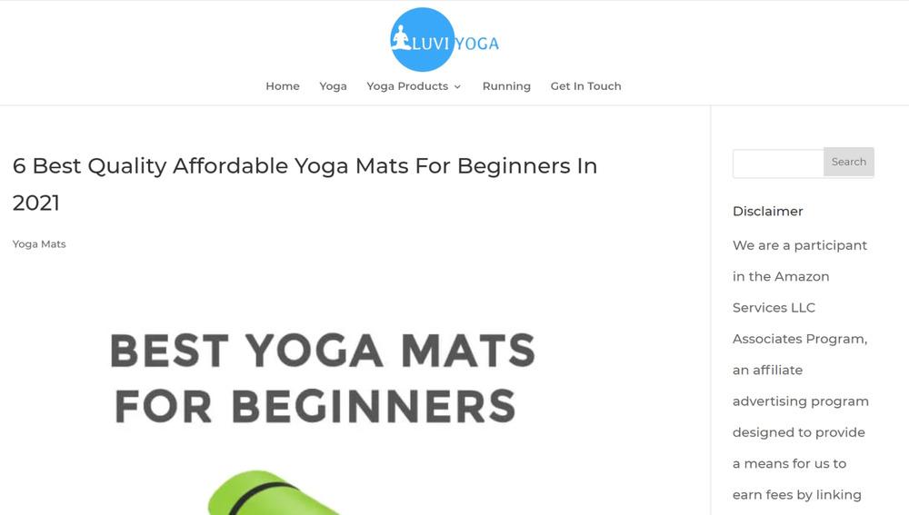 authority website example - luvi yoga