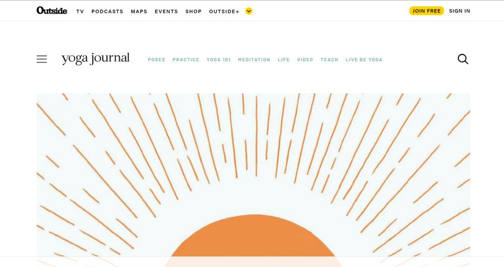authority website example - yoga journal