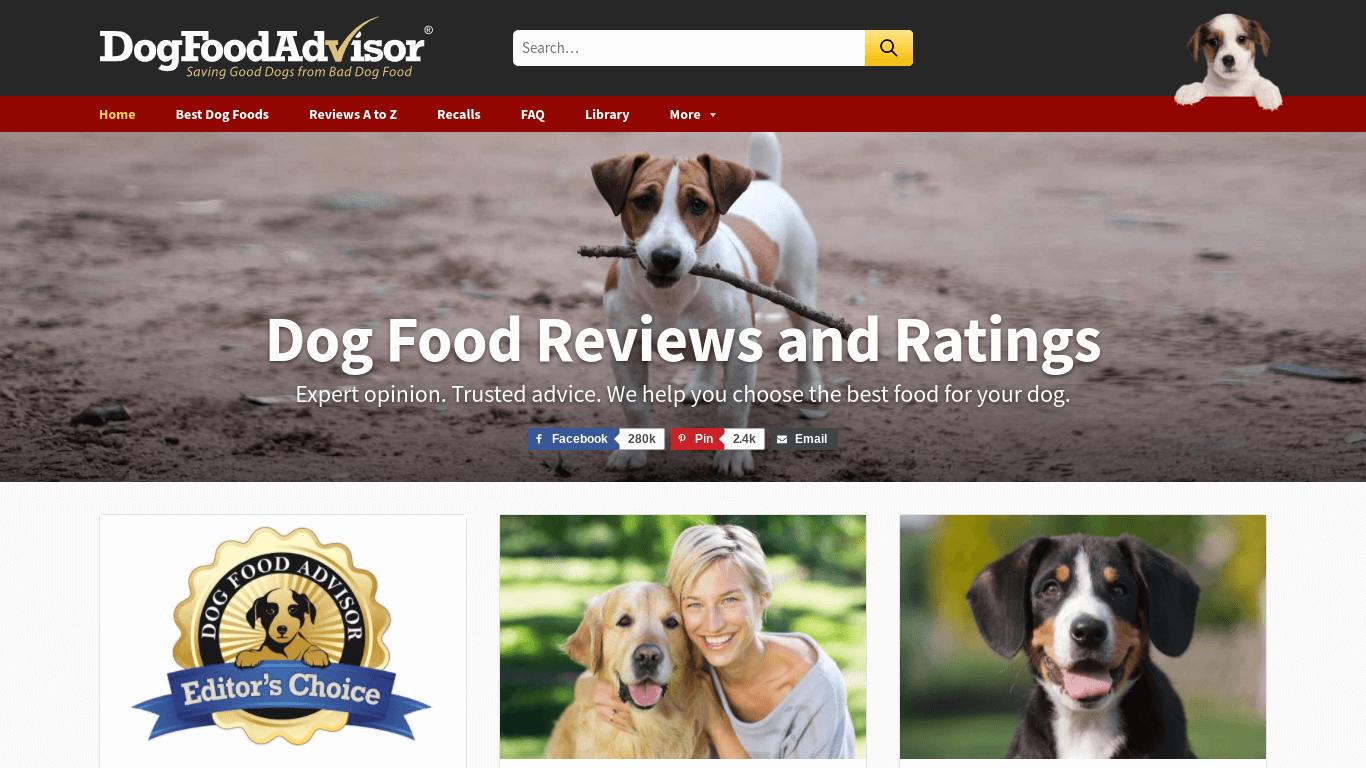 niche website example - dogfoodadvisor