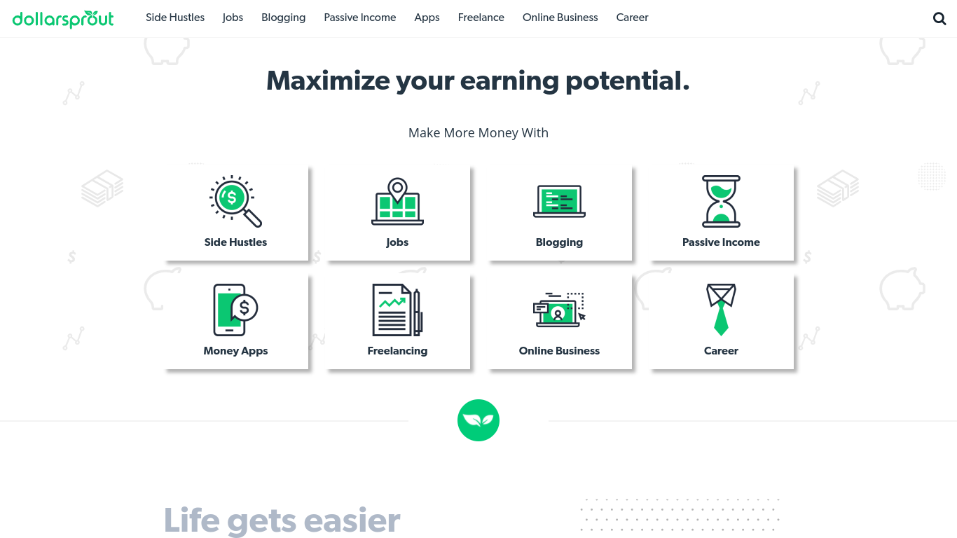 niche website example - dollar sprout