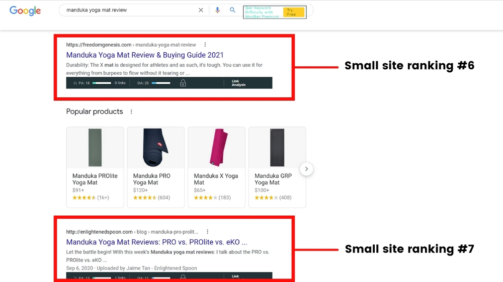 search niche site competition